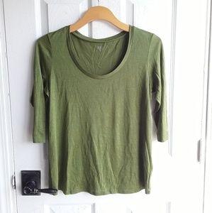 Eileen Fisher Silk Cotton 3/4 Sleeve Top Small